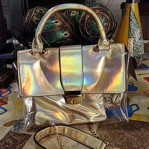 Gold clear crossbody bag